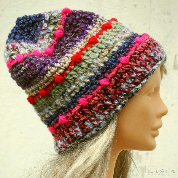 Czapka kolorowy szron,różowy - Czapki, berety - Ubrania