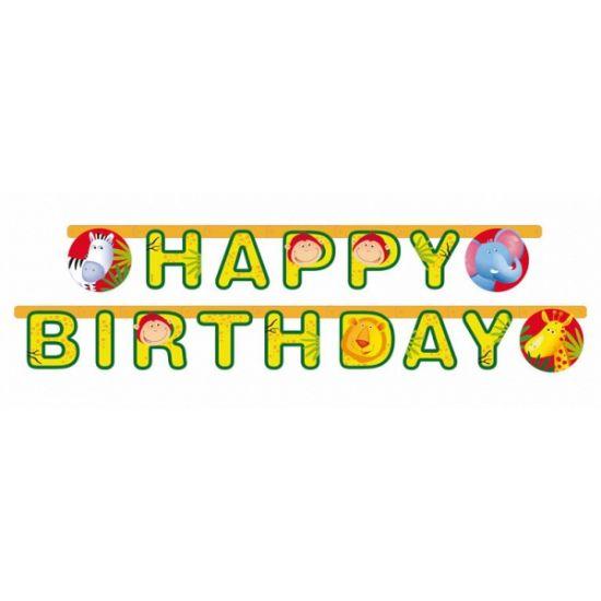 Safari feest verjaardag wenslijn. Kartonnen letterslinger in Safari thema met de tekst: Happy Birthday. De slinger is circa 180 cm lang.