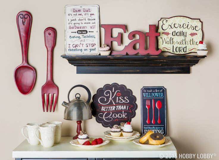 Red kitchen decor never goes out of style...especially with a good sense of humor!: