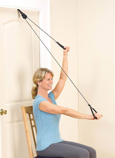 Over The Door Exerciser. Portable Pulley Exerciser Makes Physical Therapy  Or Exercising Easy