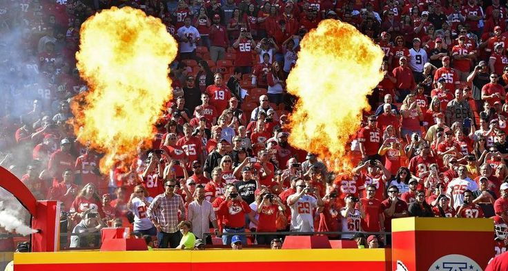 Saints vs. Chiefs  -  27-21, Chiefs  -  October 23, 2016:   Fans cheer as the Kansas City Chiefs are introduced with flames before Sunday's football game against the New Orleans Saints on October 23, 2016 at Arrowhead Stadium in Kansas City, Mo.