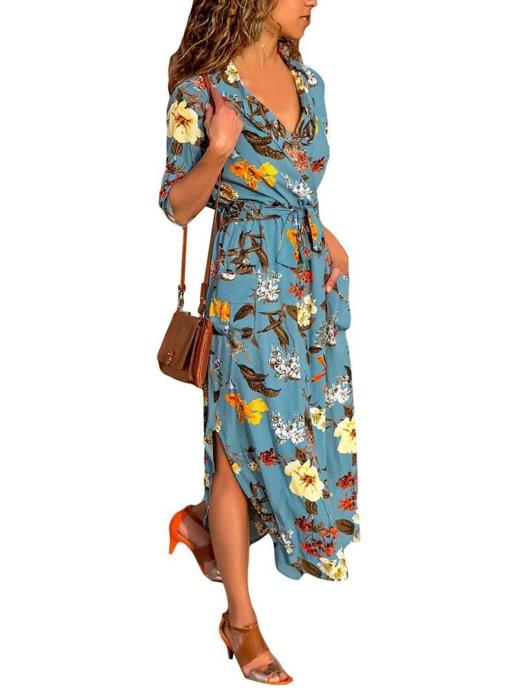 40cfaf89ef2 HOTAPEI Womens Button Down Collar Roll up Sleeve Casual Long Maxi Dresses  Split  fashion  clothing  shoes  accessories  womensclothing  dresses  ad  (ebay ...