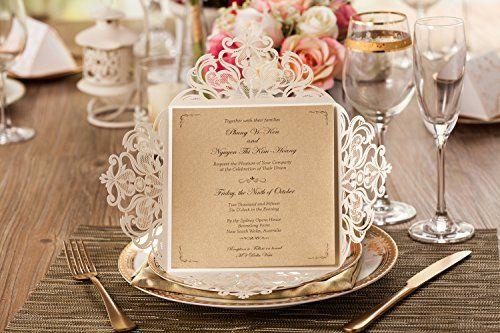 Wishmade 50x Beige Laser Cutting Bronzing Wedding Invitation Cards With Flowers Lace CW519_WH Wishmade http://www.amazon.com/dp/B016UEOQR2/ref=cm_sw_r_pi_dp_tMEIwb1193FRT