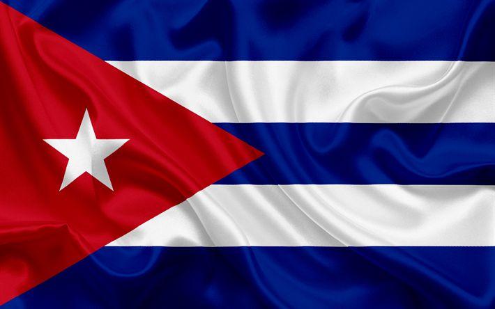 Descargar fondos de pantalla Bandera cubana, Cuba, América latina, bandera de seda, emblemas, la bandera de Cuba