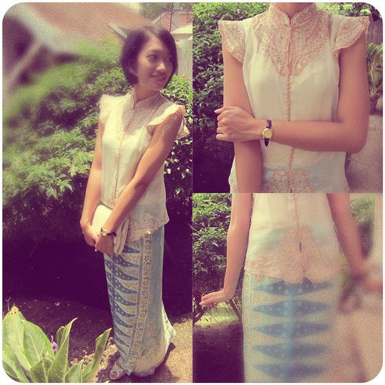 "Tidito Pastel Embroidery ""Kebaya"", New Look White Rectangle Clutch, Casio Brown Belted Watch, Minty Patterned Songket"