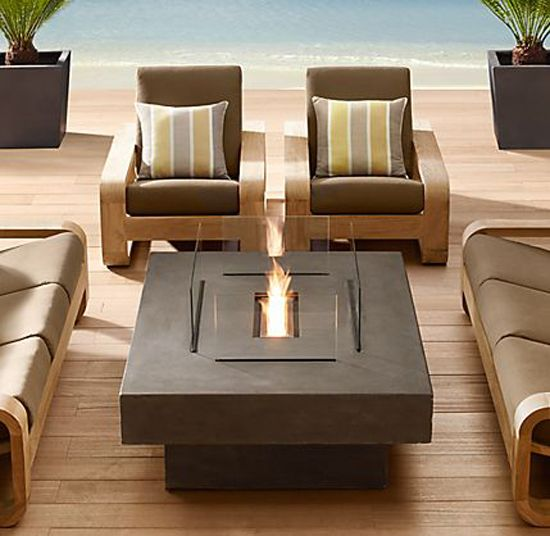 fire table.....no longer available at Restoration Hardware, but I'd love to find something similar.Restoration Hardware, Fire Tables, Outdoor Living Room, Patios Sets, Patios Parties, Outdoor Fireplaces, Rooftops Patios, Outdoor Spaces, Fire Pit