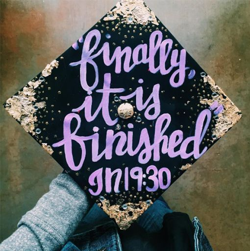 If your faith has played an important role in your life and the past four years of school then you might think about decorating your cap to celebrate that. There are a handful of graduation bible verses that are very fitting for this occasion. We love the gold detail that really makes this verse shine.