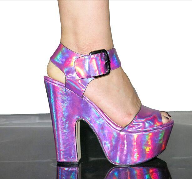 Летний стиль 2016 мода неоновые цвета конфеты женская обувь сексуальная красочные лазерного свадебные ну вечеринку высокие каблуки платформы туфли на высоком каблуке сандалии
