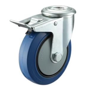 Lue Rubber Casters Bolt Hole Material:Elastic Rubber Wheel With Nylon Core  Size:Option