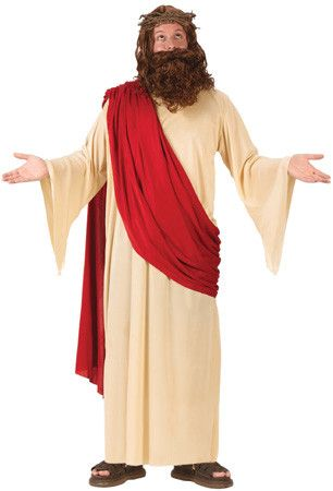Carpentry and walking on water, all in a day's work! The Jesus costume includes a full cut robe with attached maroon drape, soft crown of thorns, beard and wig.