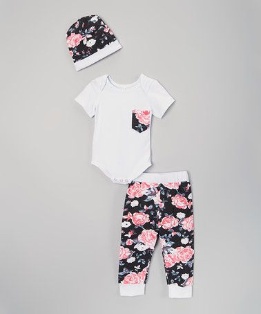 Another great find on #zulily! Black Floral Bodysuit Set - Infant #zulilyfinds