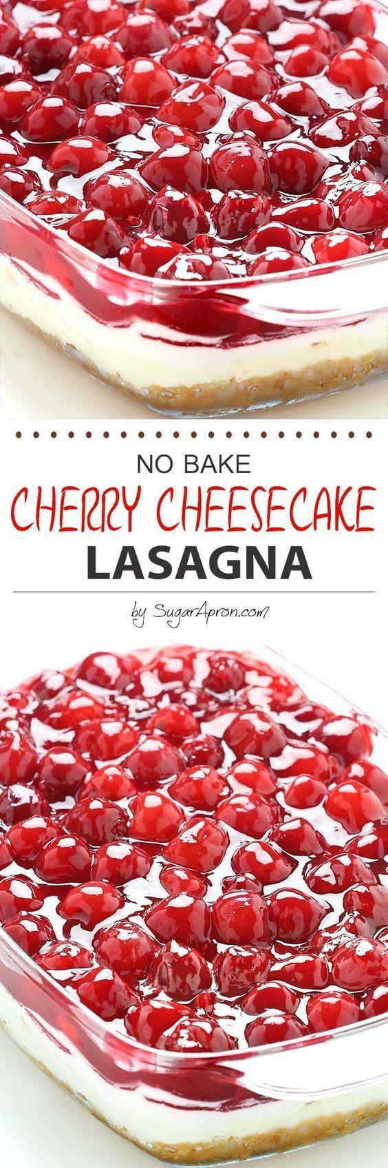 No+Bake+Cherry+Cheesecake+Dessert+Lasagna+Recipe+via+Sugar+Apron+-+Dessert+lasagna+with+graham+cracker+crust,+cream+cheese+filling,+pecans+and+cherry+pie+topping.+