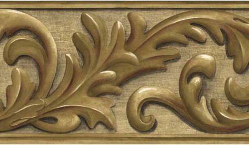 Oak Leaf Scroll Wallpaper Border in Medium Brown Oak Color  80B64173 #Brewster