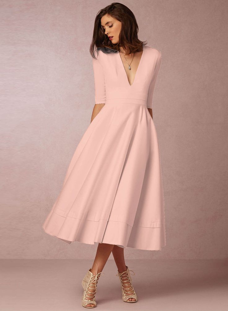 The dress is featuirng v neck, half sleeve, solid color and midi length. The dress is elegant an dfashion. It's suitable for party, daily wear, shopping and many occasions.
