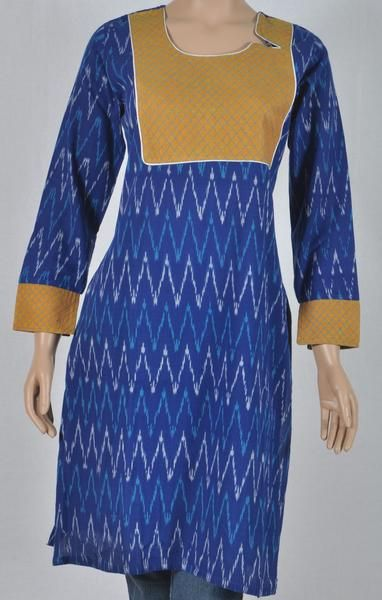 Ikkat royal blue kurta with mustard front panel