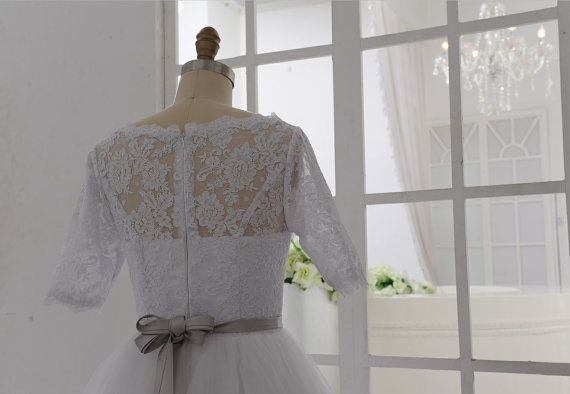 Vintage Inspired Lace Tulle Wedding Dress