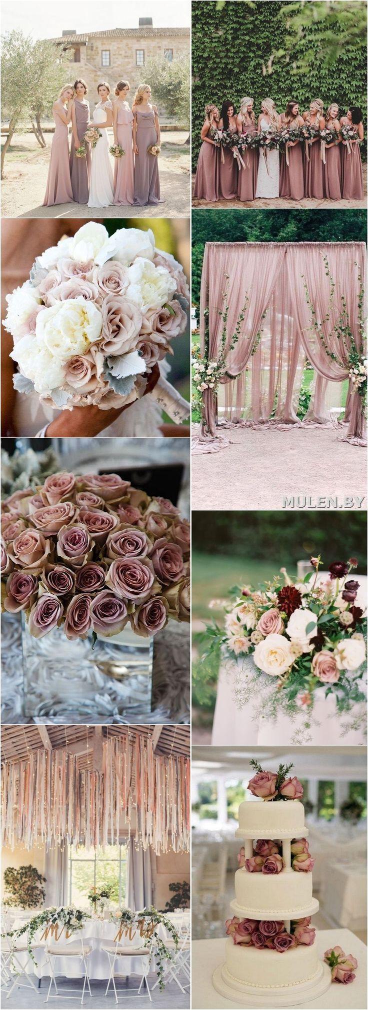 Dusty rose fall wedding color  ideas / http://www.deerpearlflowers.com/28-dusty-rose-wedding-color-ideas/