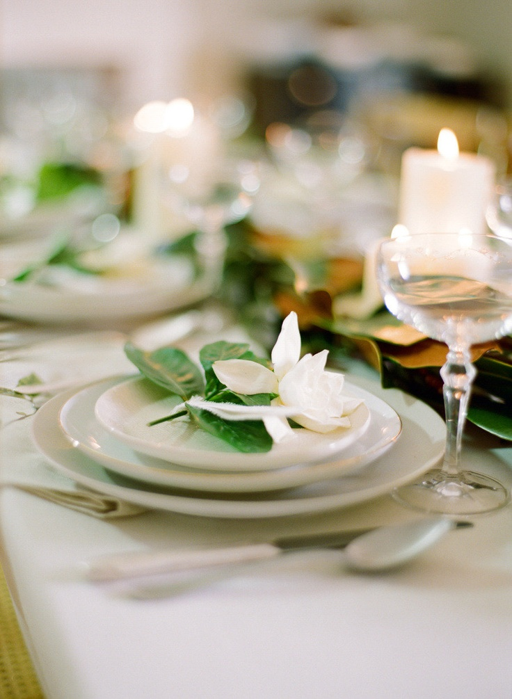 Gardenia Place Settings. Photography By / http://whiteloftstudio.com/