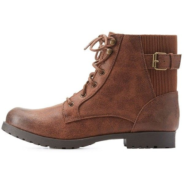 Charlotte Russe Distressed Back Gore Combat Boots ($23) ❤ liked on Polyvore featuring shoes, boots, ankle booties, cognac, army boots, lace up boots, cognac boots, lace-up ankle booties and cognac booties