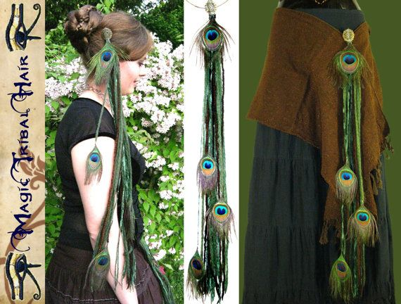 Tribal Fusion Belly Dance PEACOCK FEATHER hip hair TASSEL Forest Elf yarn falls Fantasy hip scarf adornment Fairy reenactment Renfair Larp