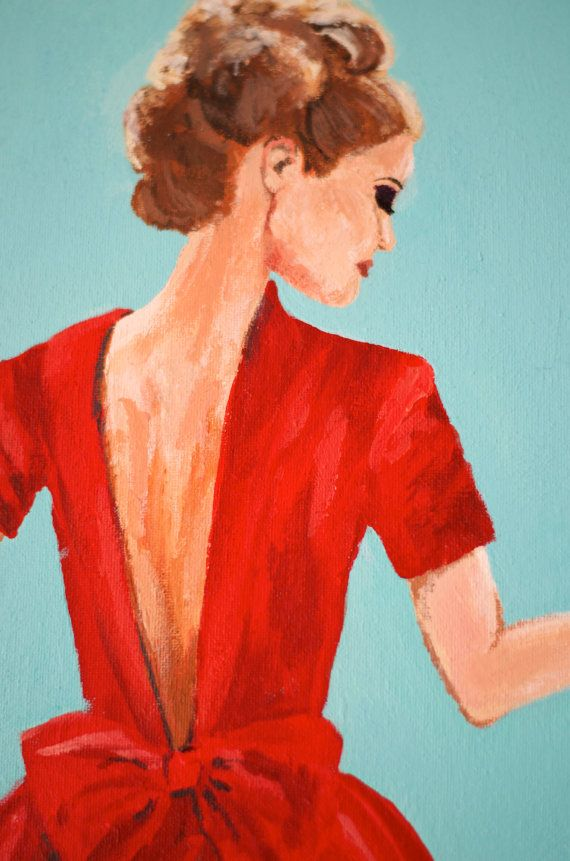 The Red Dress Original Acrylic Painting by Lauren Taylor