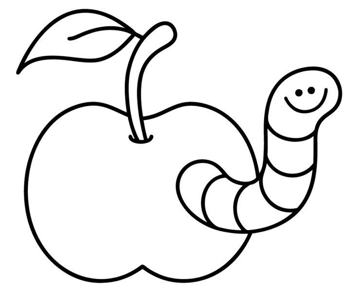 Ausmalbild Tiere: Kostenlose Malvorlage: Wurm im Apfel kostenlos ausdrucken