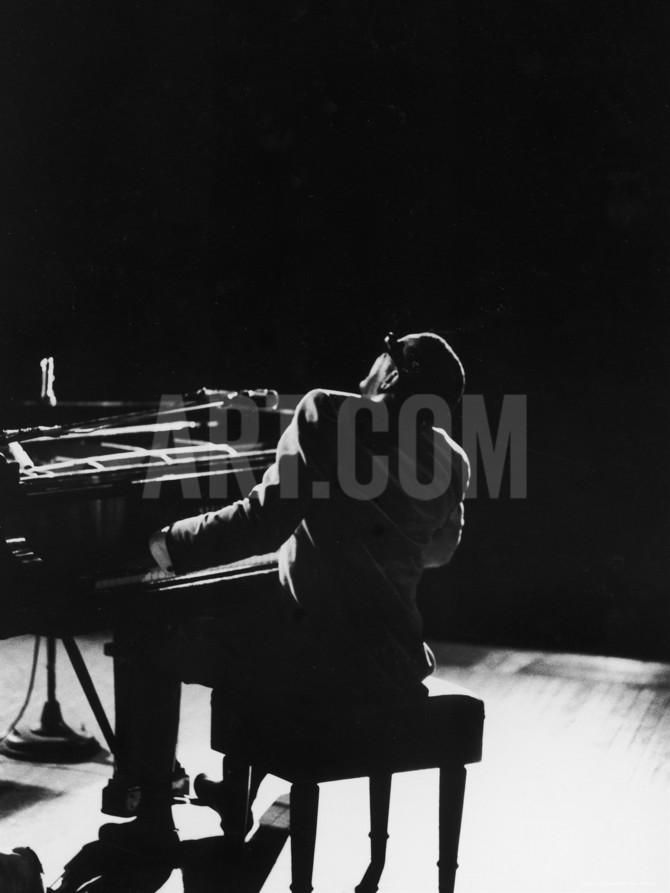 Blind Singer and Jazz Pianist Ray Charles Performing in Concert at Carnegie Hall Premium fotoprint by Bill Ray at Art.com