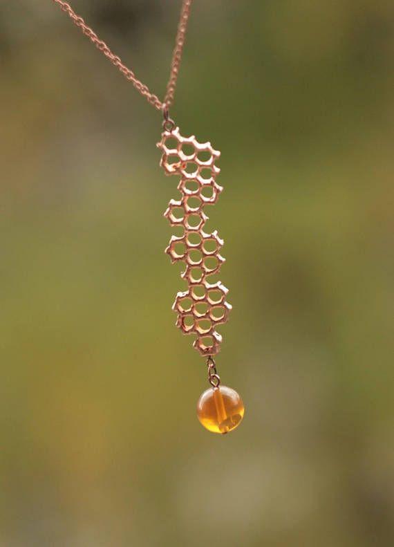 copper bee jewelry Electroformed honeycomb necklace copper hexagon beelover queen bee beehive necklace electroform honey comb pendant