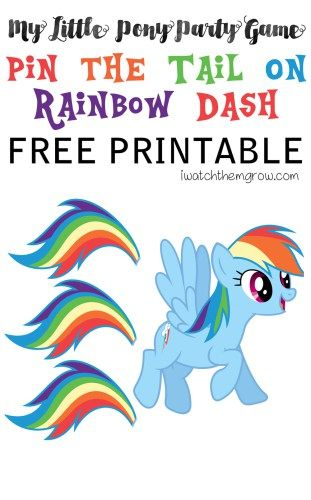 Free printable pin the tail on rainbow dash game perfect for a my