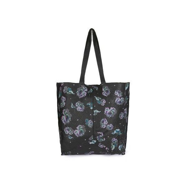 TopShop Floral Tote Bag (£42) ❤ liked on Polyvore featuring bags, handbags, tote bags, black, wing tote, floral tote, leather tote handbags, genuine leather handbags and floral tote bag