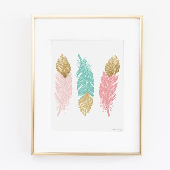 Printable Art Feathers with Gold Glitter by PennyJaneDesign This shop has lots of cute pink/gold/mint printable a for just $5