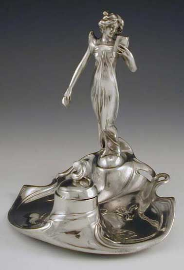 WMF  Polished pewter Inkwell with Art Nouveau full figural maiden reading a book  Germany  c.1906