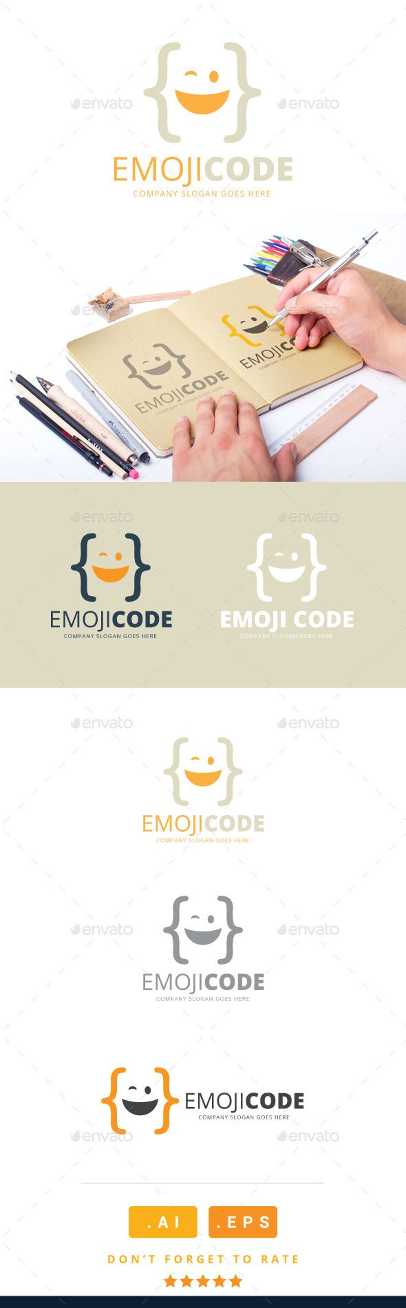 Emoji Code Logo Template Vector EPS, AI. Download here: http://graphicriver.net/item/emoji-code-logo/11213124?ref=ksioks