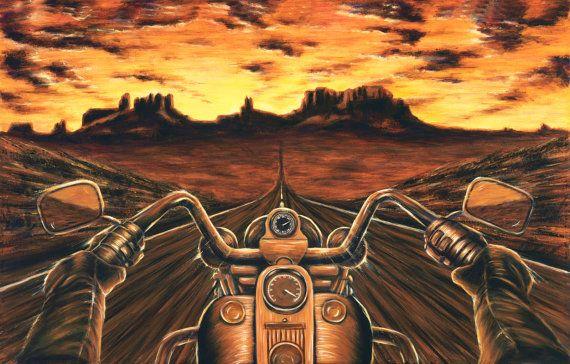 Harley Davidson Painting Sunset canvas print by travisknight