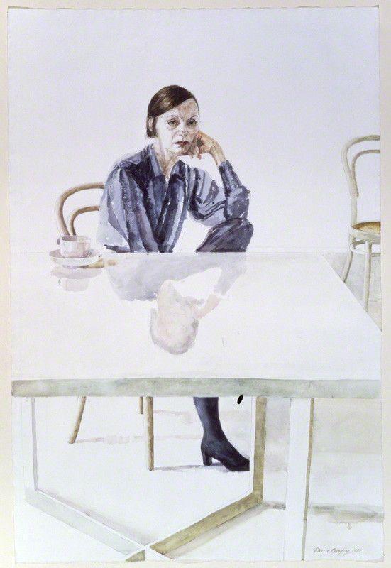 "Watercolour portrait of designer Jean Muir ""Jean Elizabeth Muir "" 1981 © David Remfry / National Portrait Gallery London."