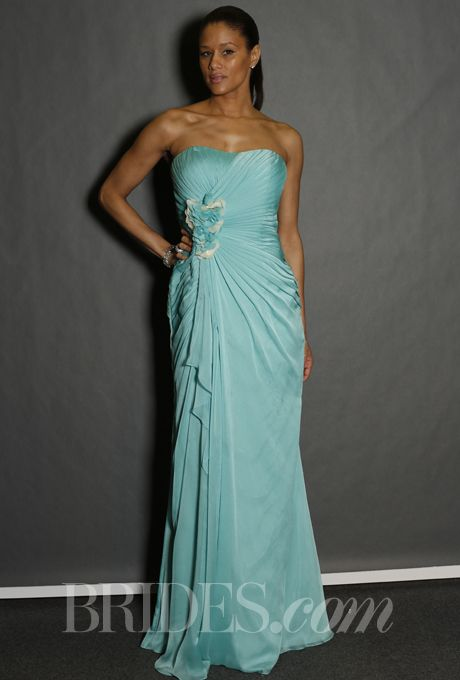 Brides: Bari Jay - Spring 2014. Style 722, strapless aqua chiffon bridesmaid dress with gathered waist and two-tone flower detail, Bari Jay  like this one even better for nikki or ash.. looks similar to the purple one next to this...i think i like this one better for the maids...shouldnt be too hard to add straps..