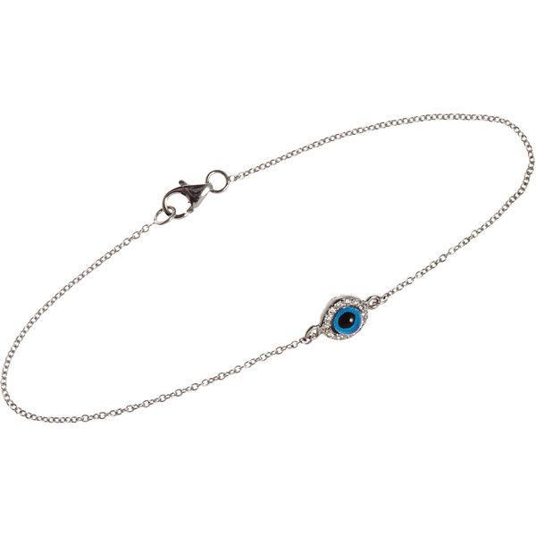 Ileana Makri Women's Diamond & White Gold Evil Eye Charm Bracelet-Colo ($995) ❤ liked on Polyvore featuring jewelry, bracelets, accessories, acc, evil eye charm, white gold charms, white gold charm bracelet, lobster clasp charms and white gold bangle
