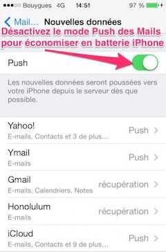 Désactiver le mode Push des mails pour économiser la batterie
