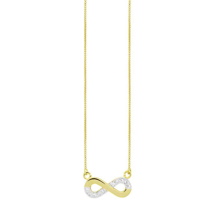 Colar infinito com zircônias. Banho de ouro com aplicação de ródio. Largura: 2,1. Altura: 1,1 (cm)