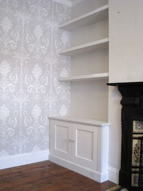 Shelves around chimney breast