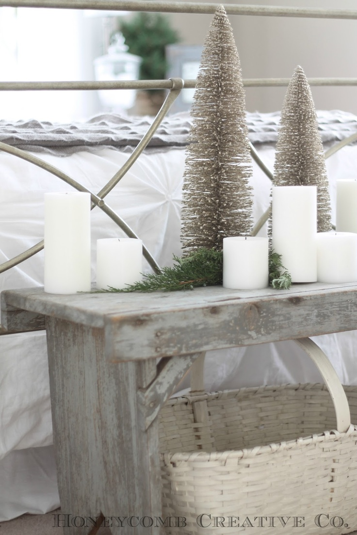 vintage white and silver Christmas bedroom