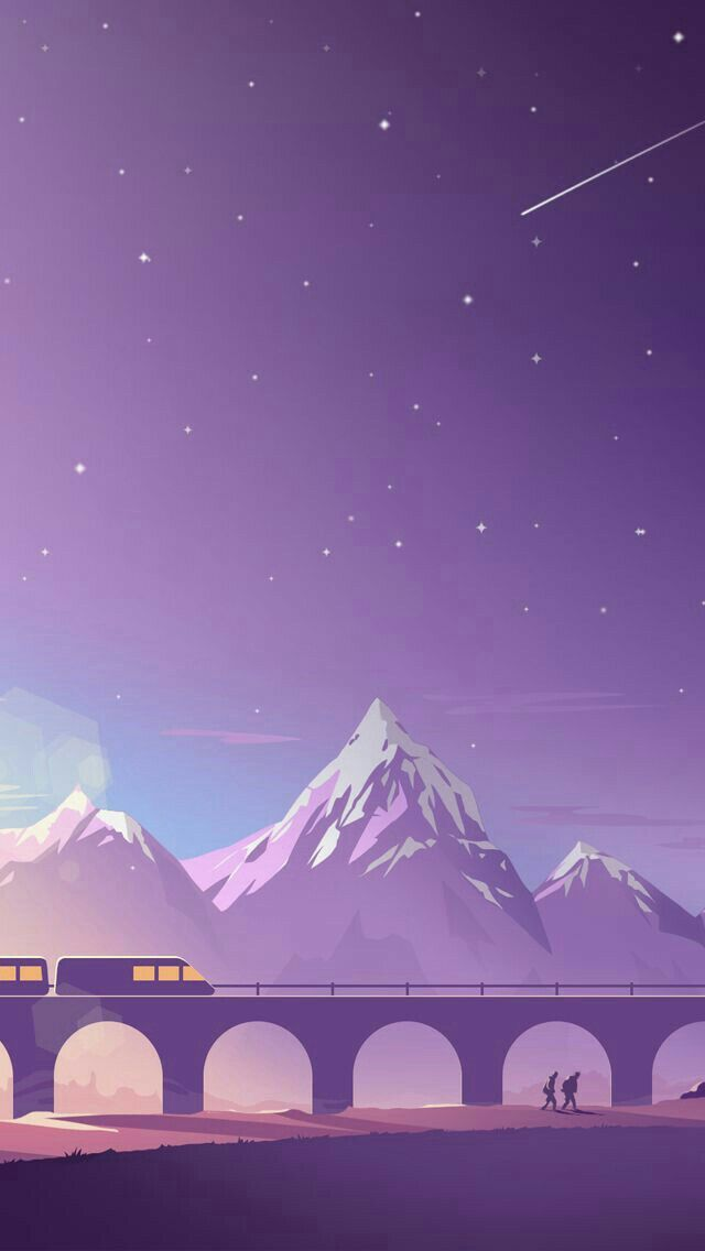 Choo choo train under the purple night sky