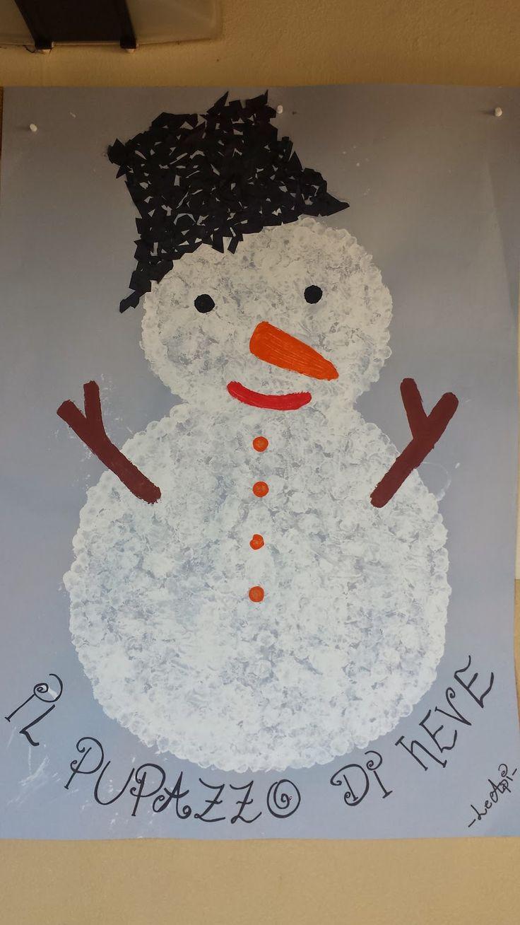 MaestraViaggiatrice: Tappi di sughero come timbri per il nostro pupazzo di neve.