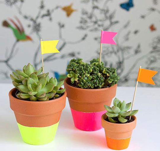 House1_rect540: Plants Can, Teacher Gifts, Gifts Ideas, Neon Dips, Flower Pots, Dips Pots, Diy, Clay Pots,  Flowerpot