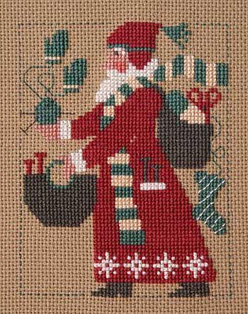 2007 Schooler Santa INCLUDES needles : Prairie Schooler Christmas December Winter Knitting Santa Claus hand embroidery