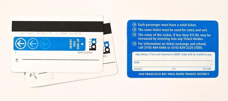 Bart transport cards in San Francisco, California.