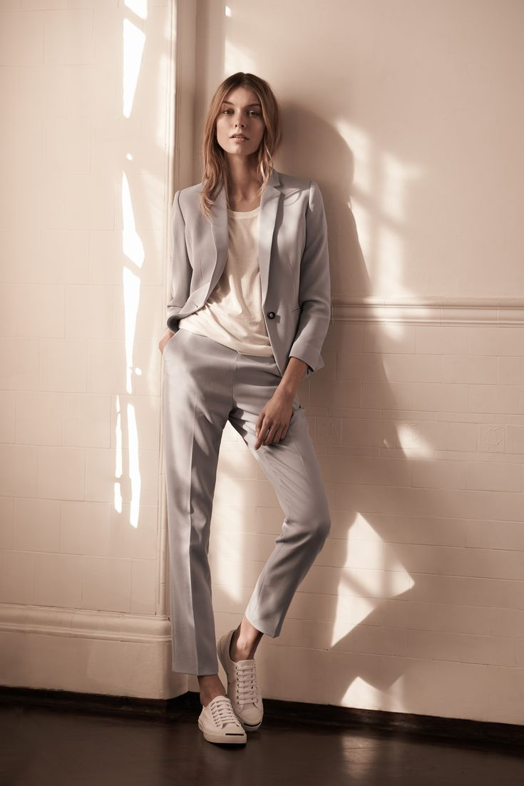Womenswear Tailoring The Modern Edit :: Team cropped trousers with bright-white trainers to lend a typically sharp silhouette a sense of dressed-down ease.