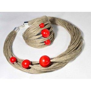 Naszyjnik lniany z bransoletką soczysta czerwień