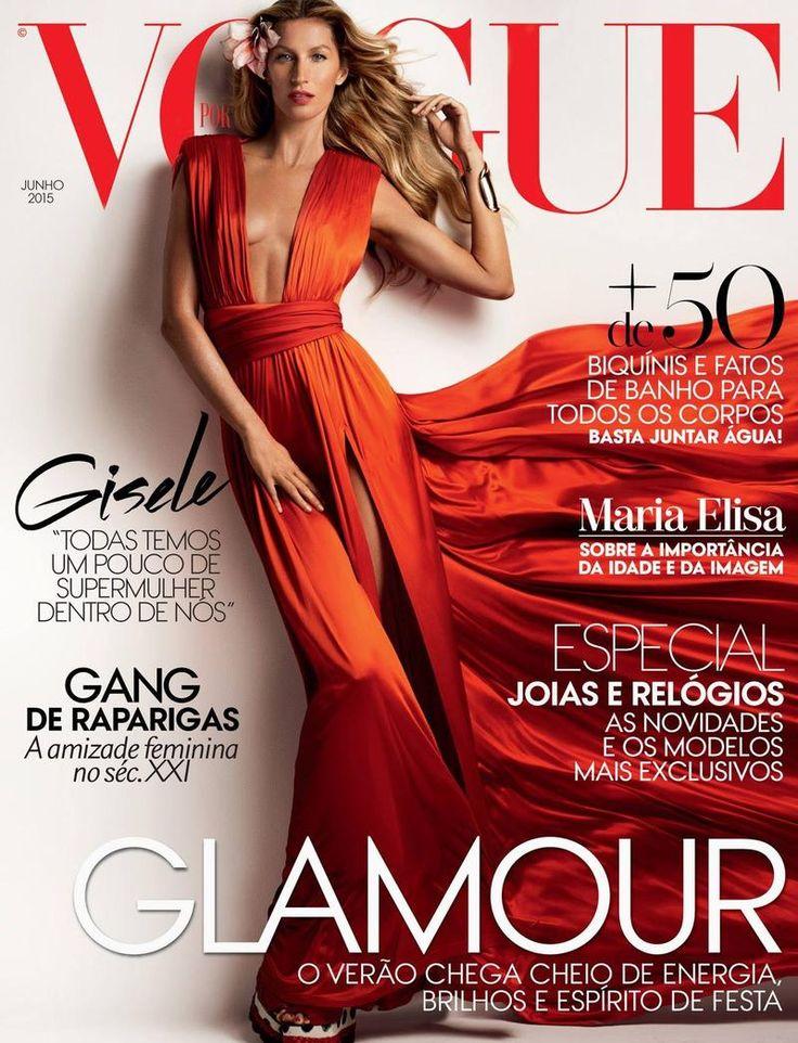 Vogue Portugal June 2015 Cover (Vogue Portugal).  Mario Testino - Photographer.   Gisele Bundchen - Model.