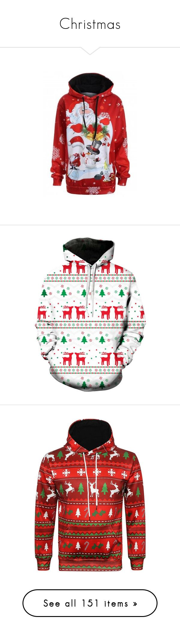"""Christmas"" by rosegal-official ❤ liked on Polyvore featuring tops, hoodies, red hoodie, women's plus size hooded sweatshirts, womens plus tops, kangaroo pocket hoodie, hooded sweatshirt, men's fashion, men's clothing and men's hoodies"